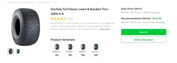 Capital One Shopping Review - screenshot of tire offer