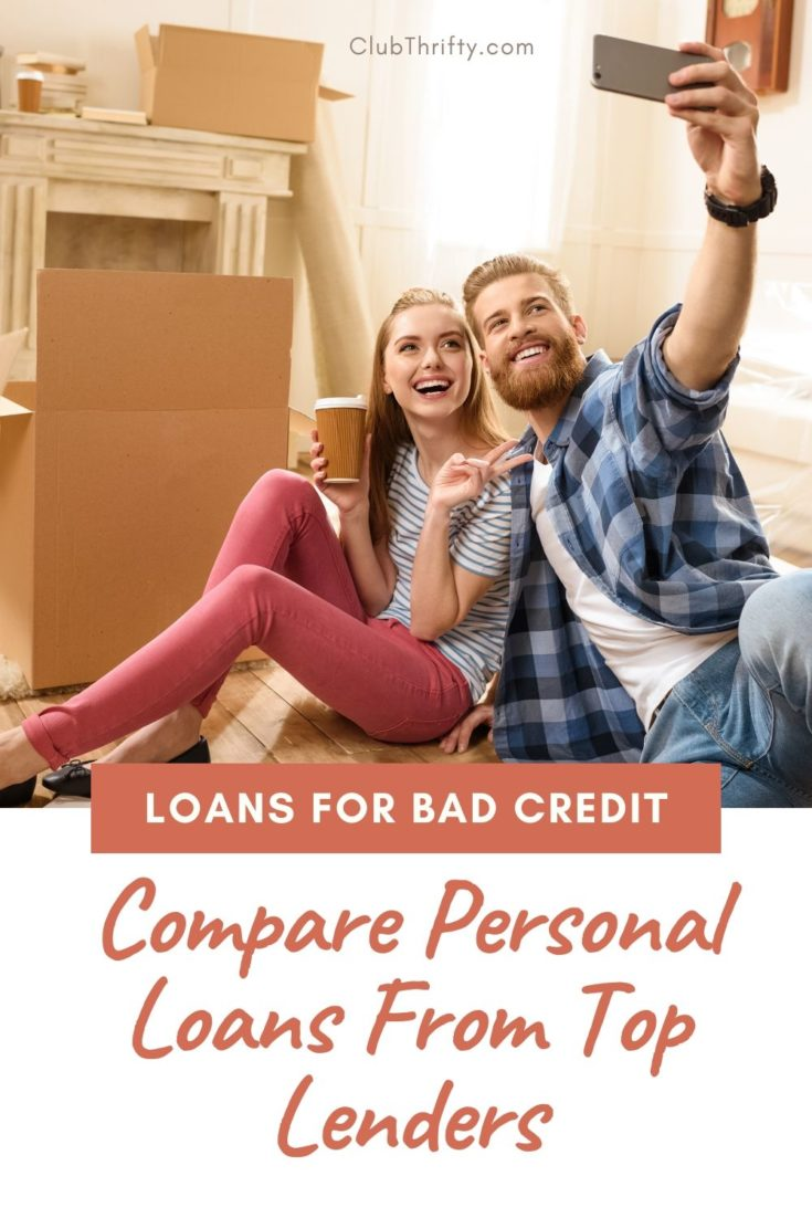 Bad Credit Loans Pin - picture of young couple in new home taking selfie