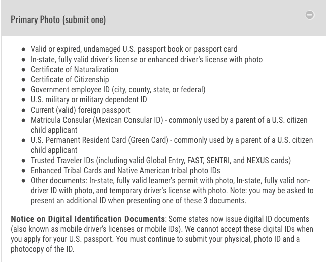 How to Get a Passport - screenshot of accepted forms of photo identification
