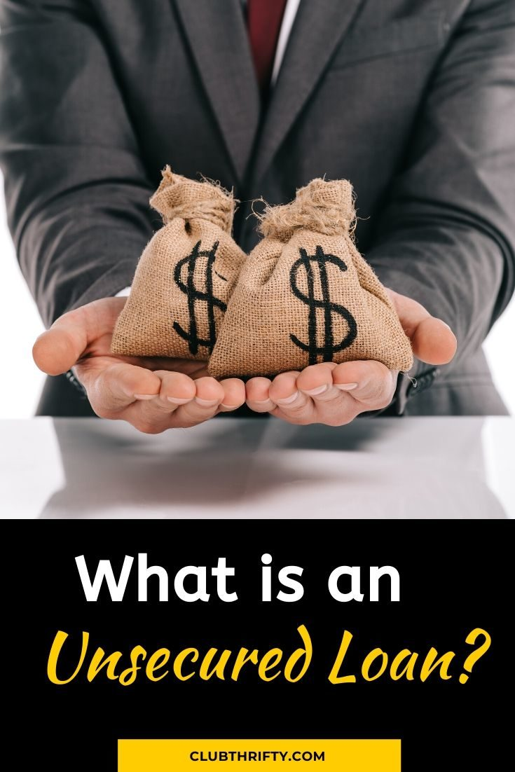 What is an unsecured loan pin - picture of money bags in outstretched hands