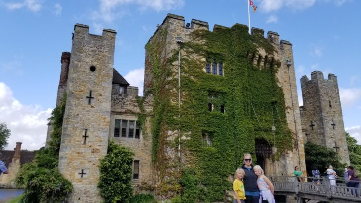 photo of family in front of Hever Castle, England
