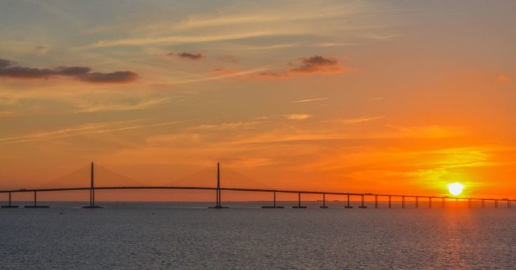 Tampa Bay CityPASS Review - picture of sunset at Tampa Bridge