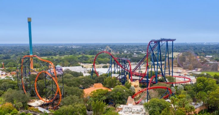 Tampa Bay CityPASS Review - aerial picture of Busch Gardens rollercoasters