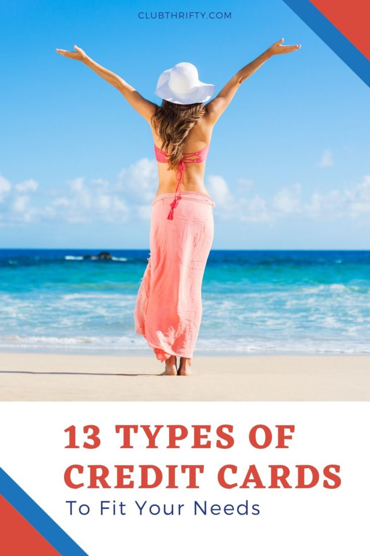 Types of Credit Cards Pin - picture of back of woman with arms raised overlooking ocean