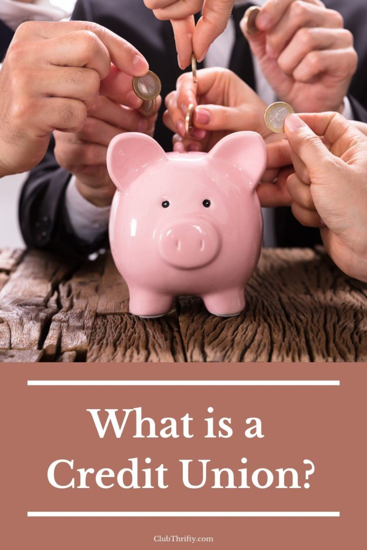 What is a Credit Union pin - picture of many hands putting coins in a piggy bank