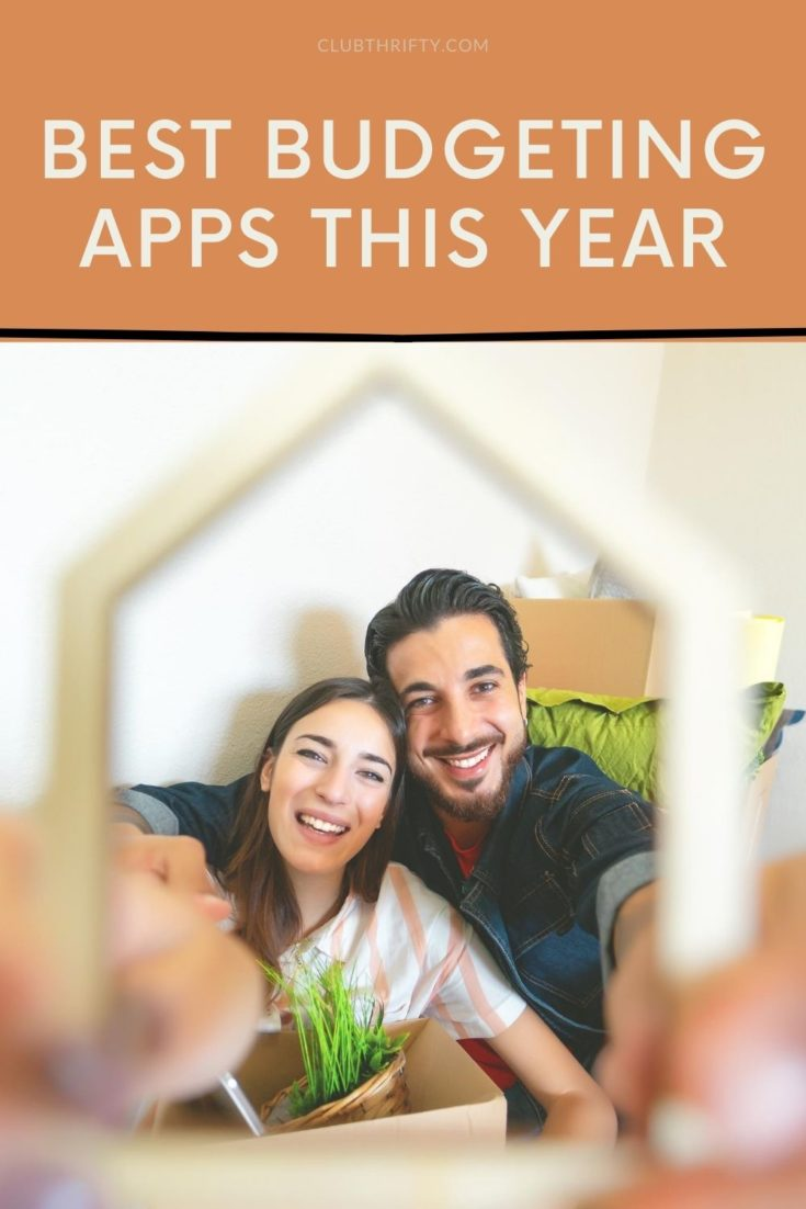 Best Budgeting Apps Pin - picture of couple holding up frame shaped like a house in front of them