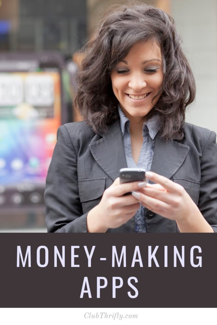 Money-Making Apps Pin - picture of brunette woman smiling at phone