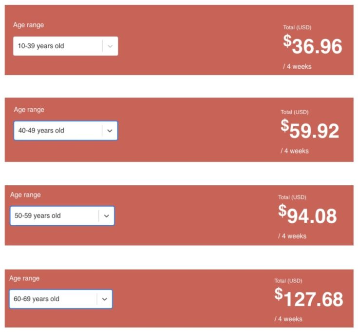 SafetyWing Review - screenshot comparing Nomad Plan Pricing