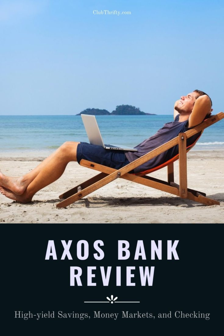 Axos Bank Review Pin - picture of man relaxing at beach in chair with laptop in lap