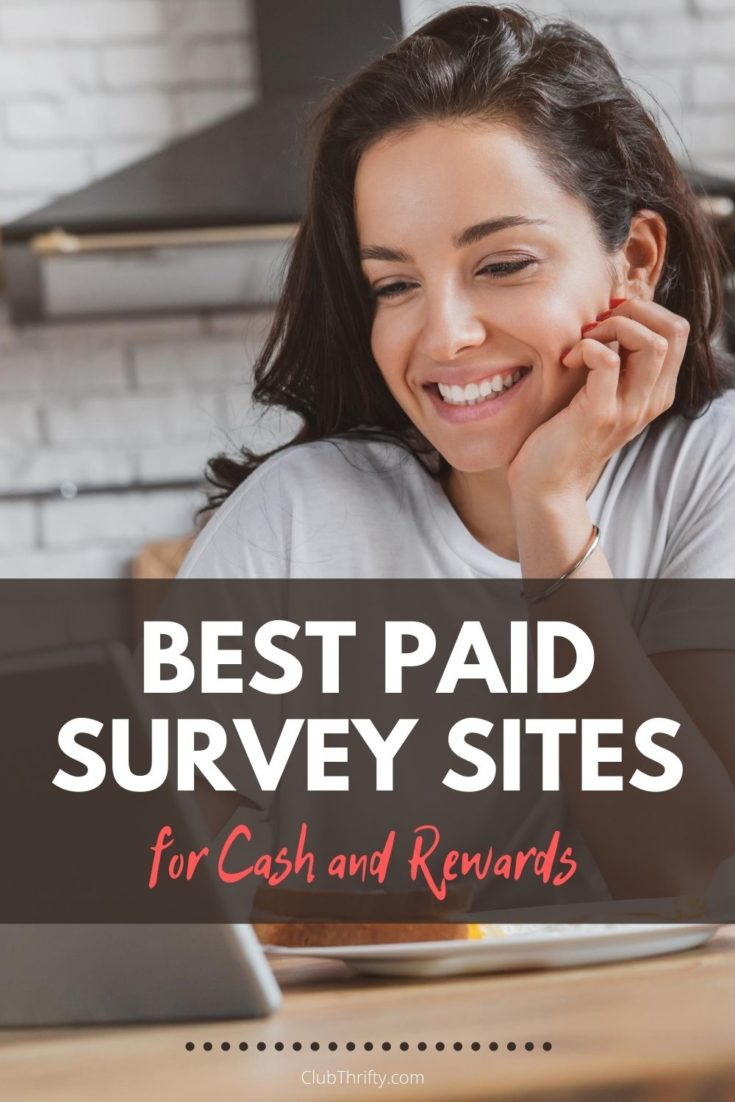 Best Paid Survey Sites Pin - picture of woman smiling at tablet in kitchen