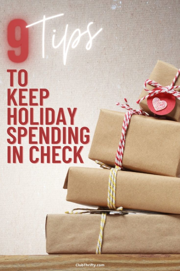 Tips Keep Holiday Spending in Check Pin - picture of homemade stack of presents falling over