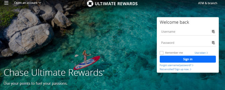 Image of Chase Ultimate Rewards homepage