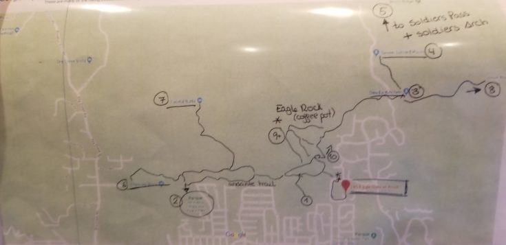map of Sedona trailheads accessible from property