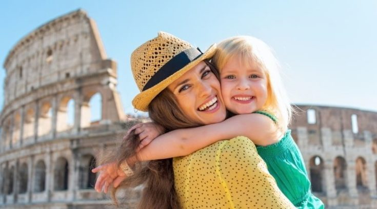 Mother and daughter in Rome