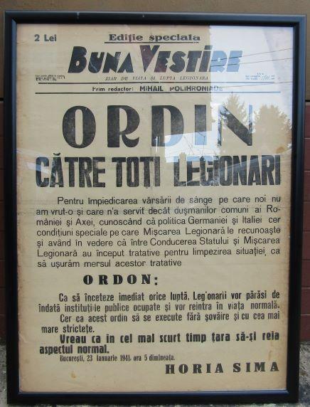 """Ziarul """"Buna Vestire"""" înramat. """"Ordin Catre Toti Legionarii"""" . Bucuresti 23 ianuarie 1941"""