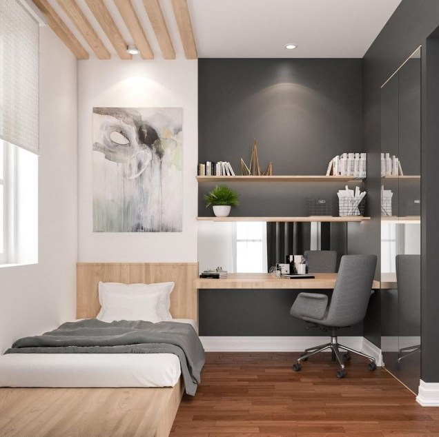 Modern Small Bedroom Design Ideas That Are Look Stylishly Space Saving41