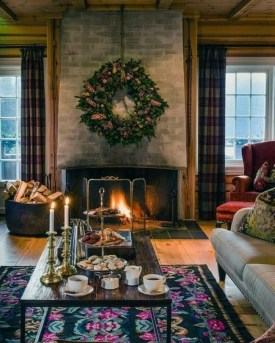 Awesome Winter Home Decoration Design Ideas With Unique Fireplace08