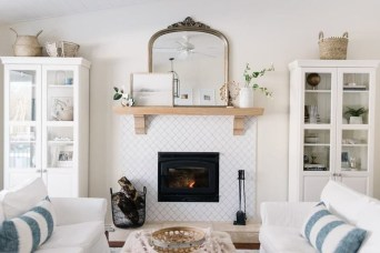 Awesome Winter Home Decoration Design Ideas With Unique Fireplace14
