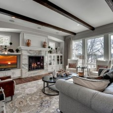 Awesome Winter Home Decoration Design Ideas With Unique Fireplace22