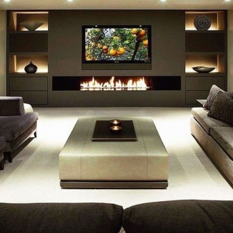 Awesome Winter Home Decoration Design Ideas With Unique Fireplace27