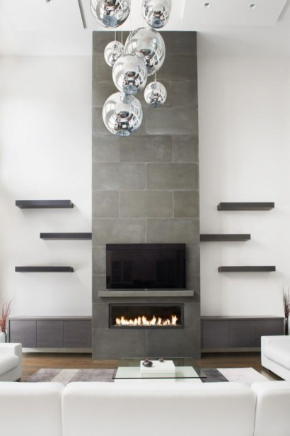 Awesome Winter Home Decoration Design Ideas With Unique Fireplace28