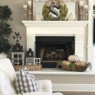 Awesome Winter Home Decoration Design Ideas With Unique Fireplace29