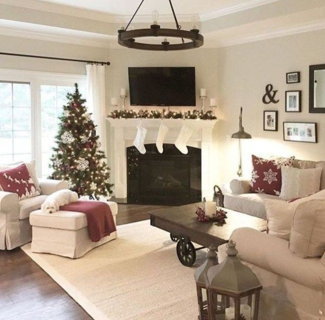 Awesome Winter Home Decoration Design Ideas With Unique Fireplace32