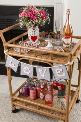 Sophisticated Bar Carts Ideas For Valentine Décor To Try Asap07
