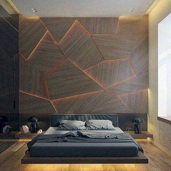 Newest Bedroom Design Ideas That Featuring With Wooden Panel Wall09