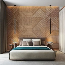 Newest Bedroom Design Ideas That Featuring With Wooden Panel Wall29