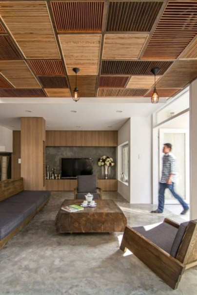 Brilliant Living Room Wood Ceiling Design Ideas That You Should Try32