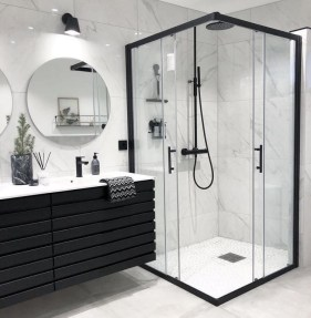 Stunning Black Bathroom Shower Design Ideas That You Need To Copy03