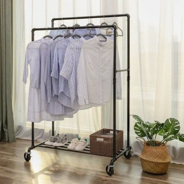 Awesome Diy Small Bedroom Design Ideas With Close Clothing Rack 17