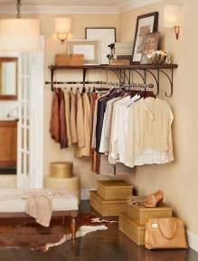 Awesome Diy Small Bedroom Design Ideas With Close Clothing Rack 46