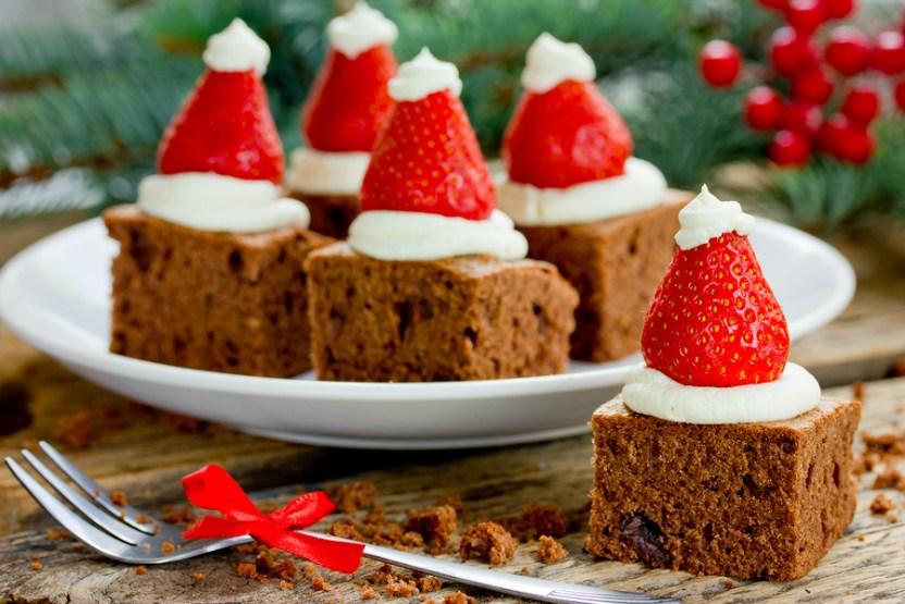 Santa hat brownie bites festive treat