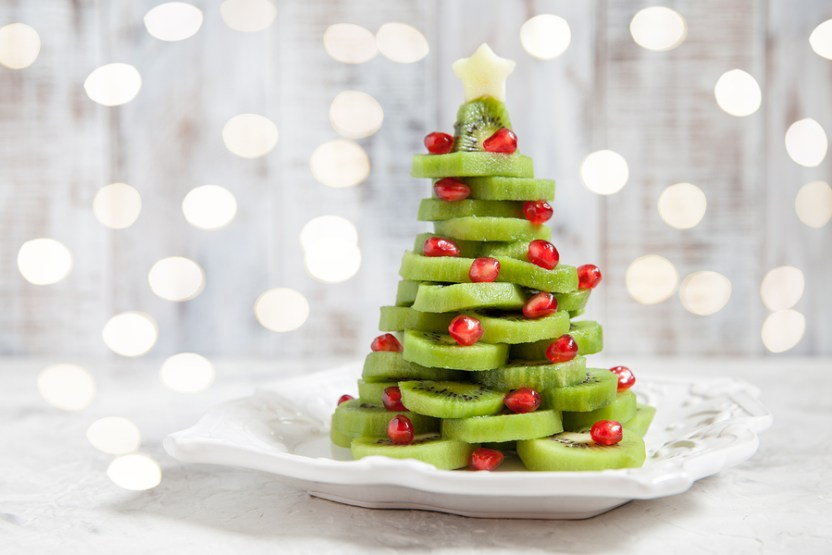 kiwi pomegranate Christmas tree