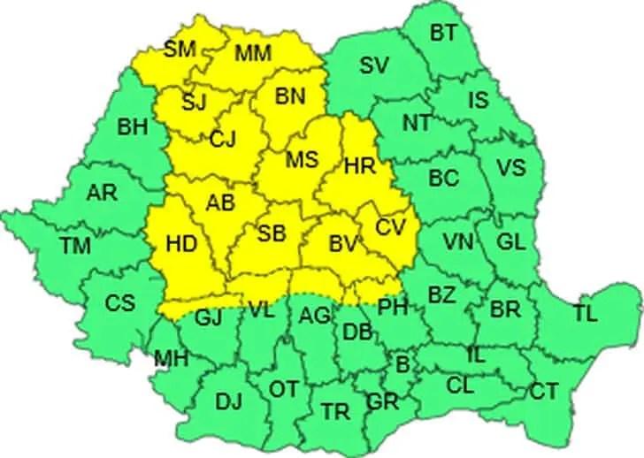 Cod galben de ploi torențiale și vijelii la Cluj