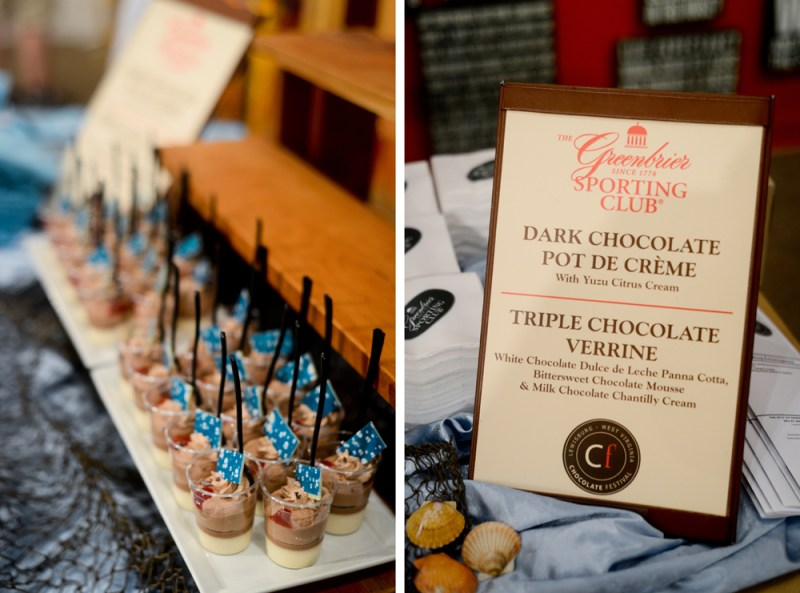 Triple Chocolate Verrine and Dark Chocolate Pot de Creme are lined up for sampling at Harmony Ridge Gallery. The gallery creates a theme each year and coordinates their tasting samples to match.