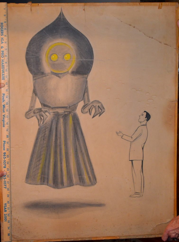 Original drawing of the Flatwoods Monster done in 1952