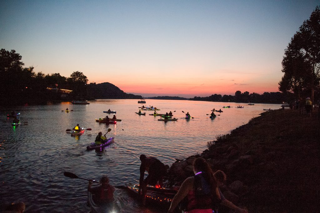 Volunteers were on site to help paddlers get in and out of the water Friday night.