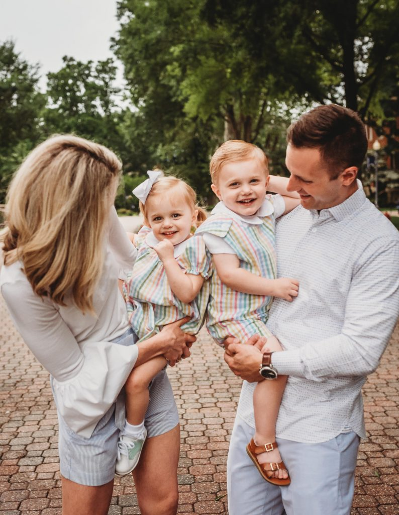 Alaina and Jared Perry with their two children.