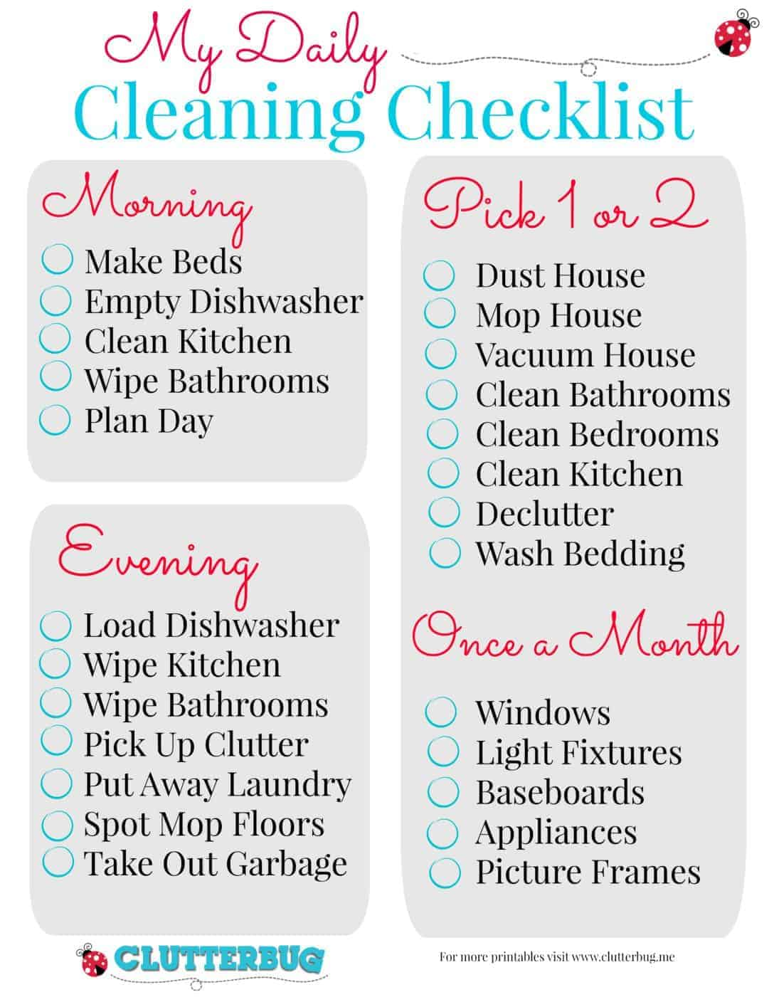 My Daily Cleaning Checklist