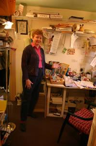 Vegettes cluttered desk and office