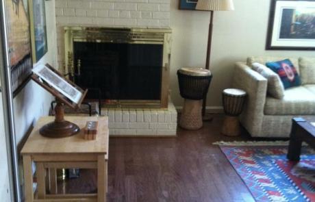 Living room, decluttered