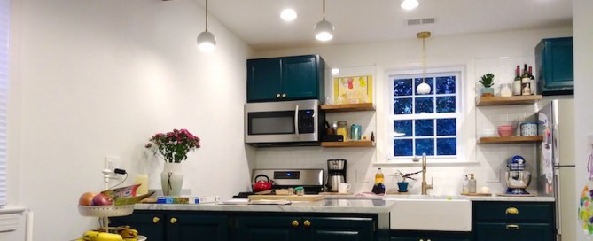 Kitchen organized shelves on wall high cabinets optimized