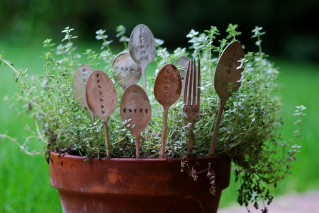 Upcycled DIY Utensil Plant Markers Outdoor Living Wooden Utensils