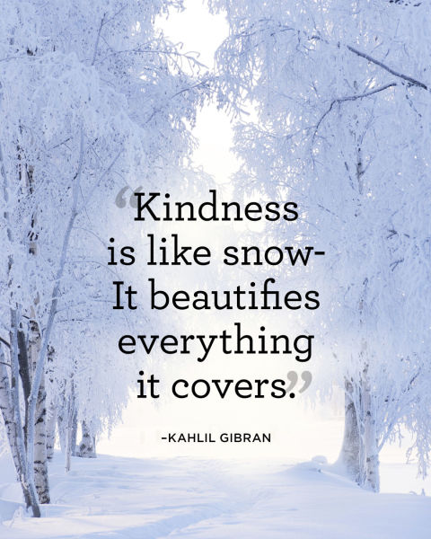 """Kindness is like snow—It beautifies everything it covers."""