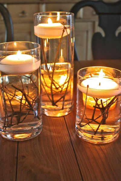 Mason Jar Decorations Mason Jar Water Candles Clear Sticks Tablescape
