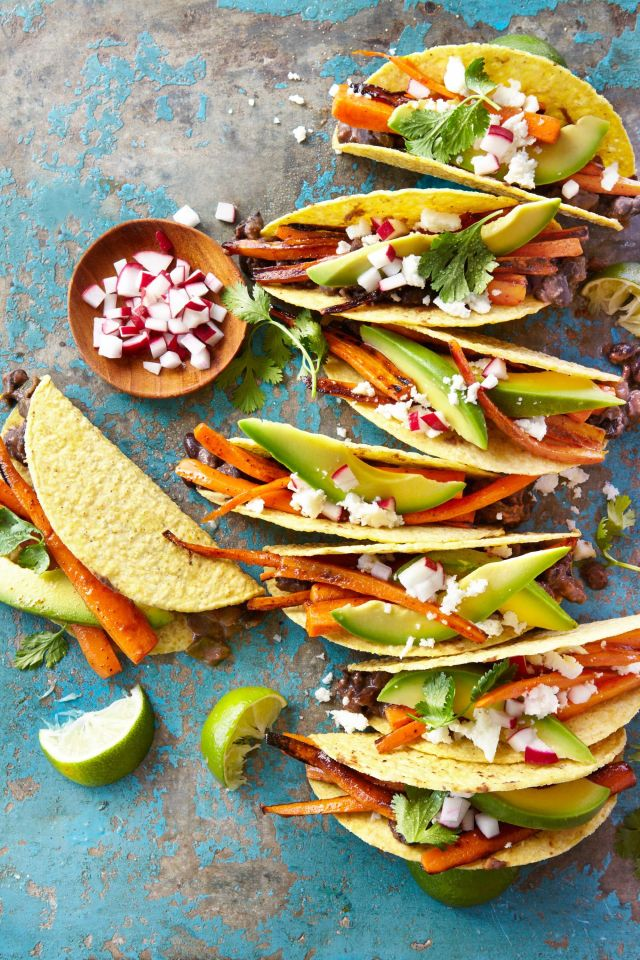 Carrot-and-Black Bean Crispy Tacos Recipe