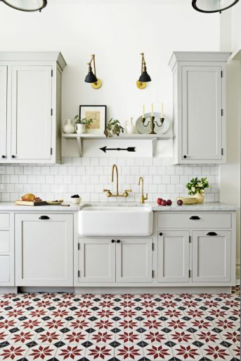 Rugs, however durable, aren't practical for a heavy-use kitchen. Enter statement floor tile. It's a more subtle way to add impact than, say, a bold eye-level backsplash (go togranadatile.comfor similar quilt-like patterns). Bonus idea: Tired of the same old subway tile? This on-trend square shape has a charming shingle-like effect.